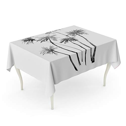 Tarolo Rectangle Tablecloth 60 x 90 Inch Surf Watercolor of California Palm Tree Vintage Surfboard Board Lifestyle Tropical Table ()