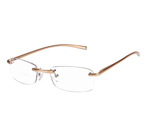 (Rimless Spring Hanger Mens Women Gold Bifocal Reading Glasses Readers (Gold, 1.00) )