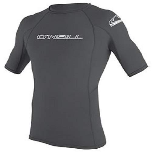 - O'Neill Wetsuits Men's Basic Skins UPF 50+ Short Sleeve Rash Guard, Smoke, Large