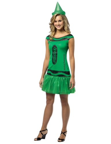 Crayola Glitz and Glitter Crayon Dress Adult Costume Illuminating Emerald Green - Small/Medium for $<!--$35.30-->