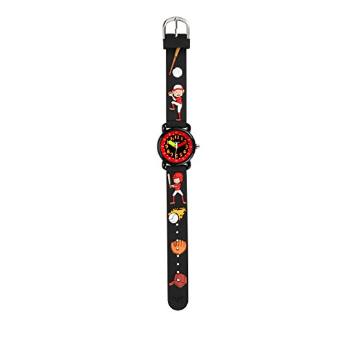 Kids Watch Baseball 3D Cartoon Waterproof Silicone Wrist Watches Fashion Analog Time Teacher Gift for Little Boys Black by PASNEW (Image #3)