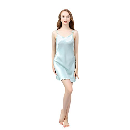 19 Mm Silk (VANSILK 19 Momme 100% Two-Strap Silk Sleepwear Lightweight Mulberry Nightgown for Women Turquoise)