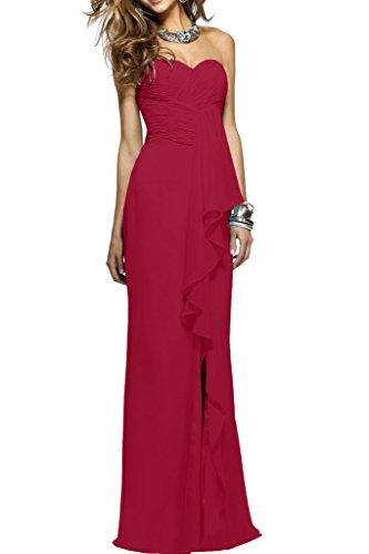 Ausschnitt Damen Ivydressing Herz Chiffon Promkleid Weinrot Einfach Abendkleid Ballkleid Lang Festkleid Rueckenfrei 6atwCqt