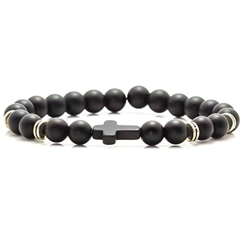 Xusamss Fashion Christian Cross Bangle 8MM Onyx Beads Bracelet,7 1/2 Wrist