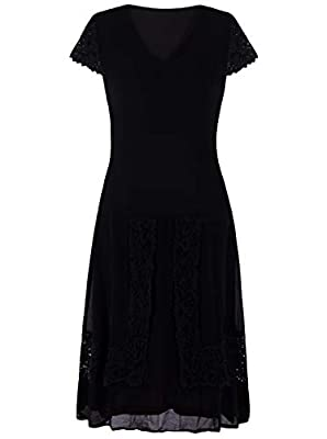 Vijiv Womens Black 1920s Lace Flapper Dresses V Neck Roaring 20s Gatsby Dress with Sleeves