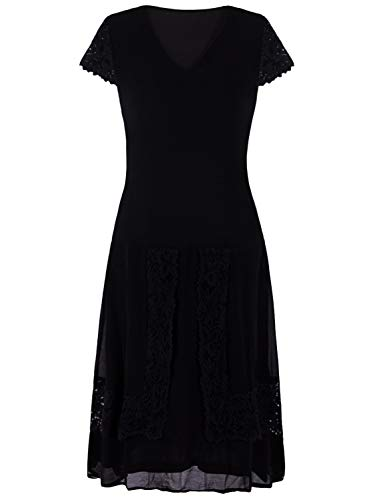 (Vijiv Women Vintage 1920s Clothing V Neck Lace Roaring 20s Flapper Party Dress)