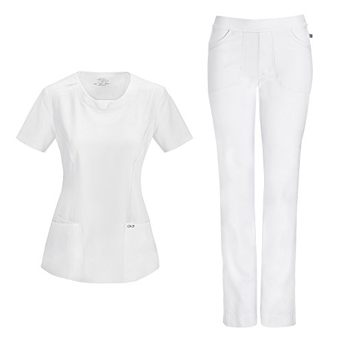 Cherokee Infinity by Women's with Certainty Round Neck Top 2624A & Low Rise Pant 1124A Scrub Set (Antimicrobial) (White - Small/Medium Tall) (Cherokee Set)