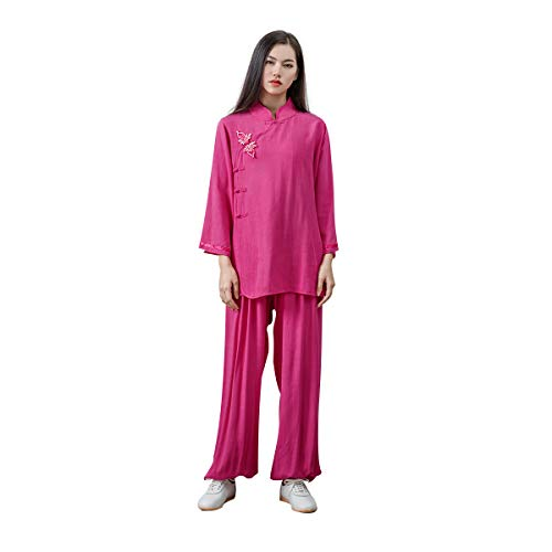 KSUA Womens Kung Fu Uniform Tai Chi Suit Martial Arts Suit Zen (Rose, US XL)