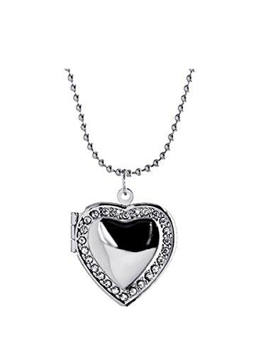 Kebaner Friend Picture Photo Frame Living Memory Pocket Watch Heart Locket Necklace Forever Love Gift for Women -