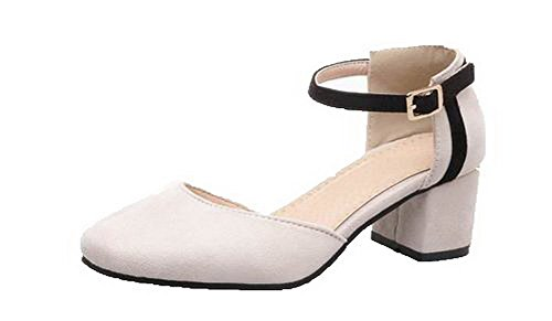 VogueZone009 Women Frosted Closed-Toe Kitten-Heels Buckle Solid Sandals Beige