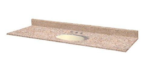 (Pegasus PE08261 61-Inch Granite Vanity Top with Biscuit Bowl and 8-Inch Spread, Beige )