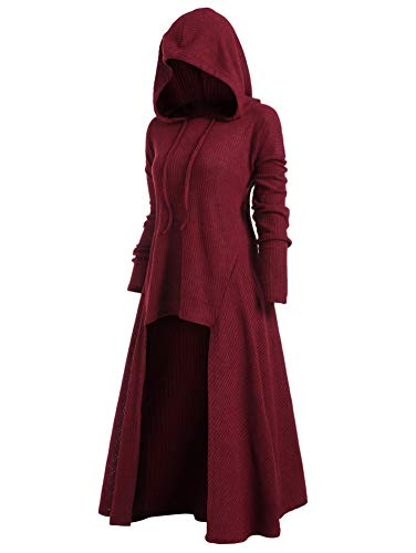Together to create a miracle Plus Size High Low Hooded Ribbed Sweater Fall Spring Long Sleeve Solid Drawstring,Red Wine,XL