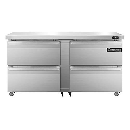 Continental Refrigerator DL60-SS-U-D Designer Line Two Section Undercounter Refrigerator, 60