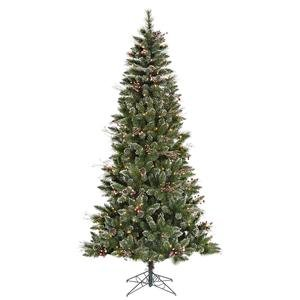 Vickerman Pre-lit Snow-Tipped Pine/Berry Tree with 250 Clear Mini Lights, 6-Feet, Frosted