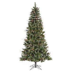 Vickerman Pre-lit Snow-Tipped Pine/Berry Tree with 250 Clear Mini Lights, 6-Feet, - Lit Mini Trees Pre Christmas