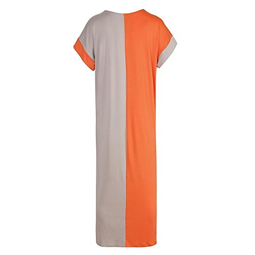 Loose Splicing Short Orange Sleeve Diamondo Clothes Pocket Dress Banquet Women Maxi Fashion Z8w5xqR