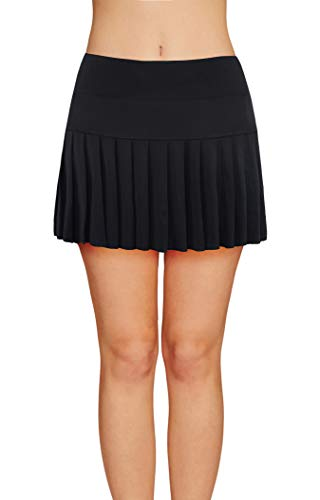 Pleated Golf - Womens Tennis Pleated Skorts Golf Workout High Waist Biult in Skirts Sports Active Wear with Pockets Black