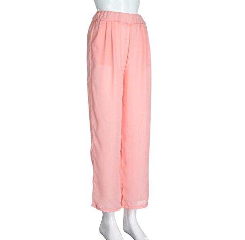De Élégant Pants Long Taille Pantalons Mince Loisirs Élastique Uni Confortables Rose Dame Femme Casual Battercake Bouffant Manche Plage Pantalon Ete ITw4xYXnqZ