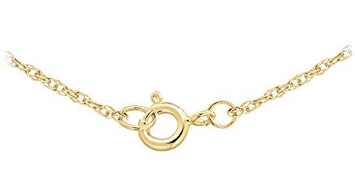 Pavé Privé Chaîne Femme Or jaune 14carats Diamant rond blanc petit coeur pendentif collier de 44,5cm