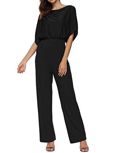 Zaoqee Women's Bat Wing Sleeve Loose Jumpsuit One Piece Casual Wide Legs Romper with Pockets Black XL from Zaoqee