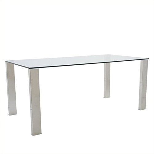 Eurostyle Beth Rectangular Glass Dining Table in Clear