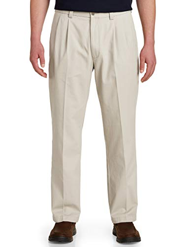 - Harbor Bay by DXL Big and Tall Waist-Relaxer Pleated Twill Pants