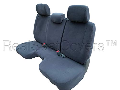 RealSeatCovers for Regular Cab Solid Bench with 3 Adjustable Headrest A30 Custom Made for Exact Fit Seat Cover for Toyota Tacoma 2005-2008 (Dark Gray)