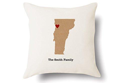 Personalized Vermont Pillow - State Map Felt Appliqué - 100% Off-White Cotton - 4 Color Choices - Blue Green Pink Tan - 18x18