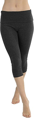 ToBeInStyle Women's Cropped Comfy Skinny Leg Capri Solid Cotton Blend Yoga Pants (Cotton Skinny Pants)