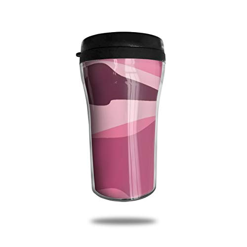 FTRGRAFE Pink Camo Screensavers Travel Coffee Mug 3D Printed Portable Vacuum Cup,Insulated Tea Cup Water Bottle Tumblers for Drinking with Lid 8.54 Oz (250 Ml)