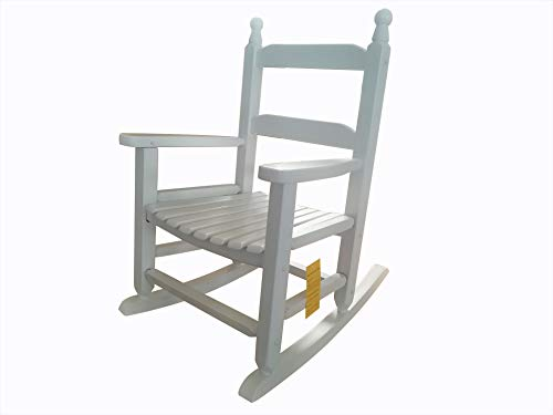 WT Durable White Child's Wooden Rocking Chair/Porch Rocker - Indoor or Outdoor - Suitable for 4-8 Years Old ()
