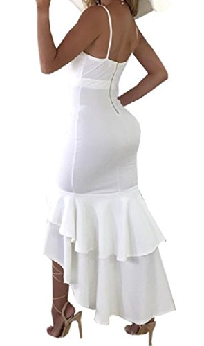 Waist Irregular Coolred Women Neck Sun Skinny Hi Strap Dresses Plunge V White Mermaid qX0wBXF