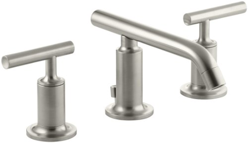 KOHLER K-14410-4-BN Purist Widespread Lavatory Faucet with Low Spout and Low Lever Handles, Vibrant Brushed Nickel