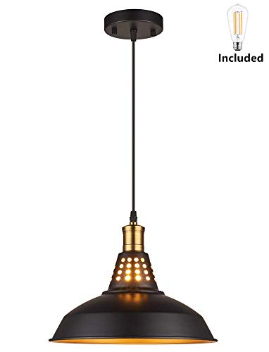 Amabao Lighting, 1 Light, Matte Black Metal Industrial Barn Kitchen Island Pendant Light Fixture, E26 7W LED Bulb Included