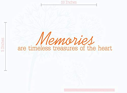 Memories are Timeless Treasures of The Heart. Wall Vinyl Sticker Lettering Memorial Decal 23Wx5H Pastel Orange