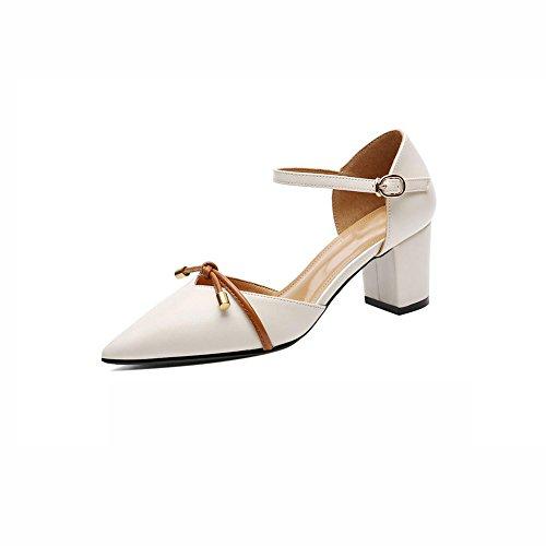 DALL Zapatos de tacón Ly-731 Uppers Liso Zapatos De Mujer Apuntado Cabeza Negro Zapatos De Tacón Alto Sandalias Primavera Y Verano Alto 6.2cm (Color : Negro, Tamaño : EU 39/UK6/CN 39) Beige