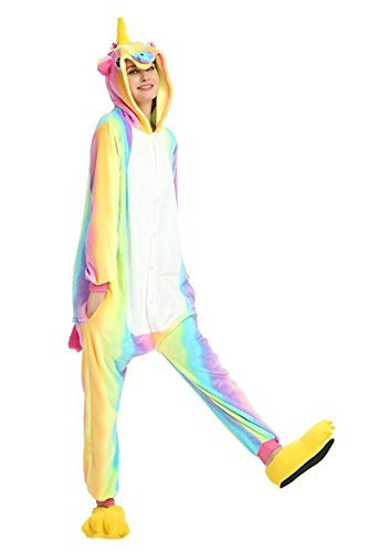 Tickos Rainbow Unicorn Pajamas Halloween Cosplay Costumes Pegasus Adult Christmas Sleepwear Party Animal Jumpsuits(Medium, Rainbow1)