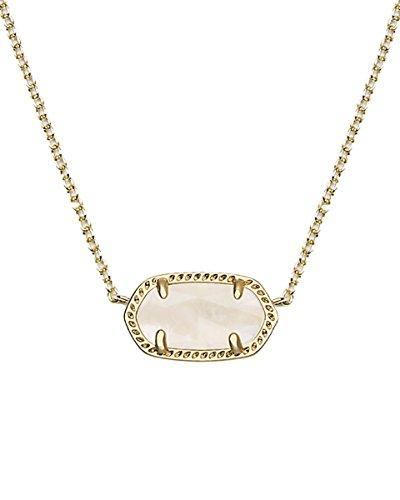 Kendra Scott Signature Elisa Pendant Necklace in White Pearl & Gold