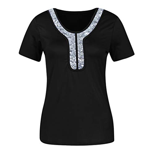 (ALLYOUNG Women's Fashion Sexy Sequins Short Sleeve O-Neck Tops Casual Blouse Comfortable T-Shirt Black)