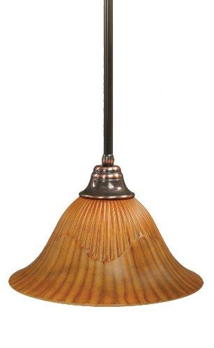 Toltec Lighting 26-BC-58319 Stem Pendant Light Black Copper Finish with Tiger Glass Shade, ()