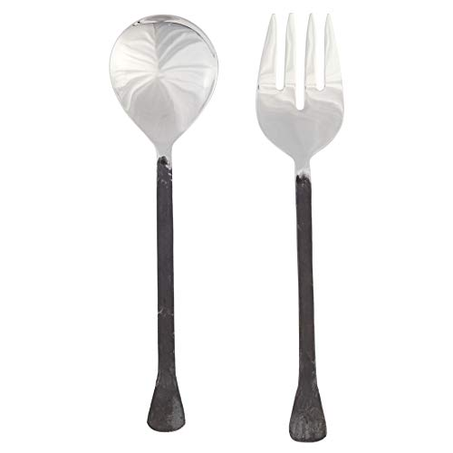 Mud Pie 46300008 Forged Metal Serving Set Salad Servers, One Size, Brown, Silver