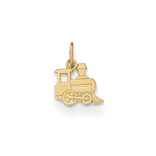 Gold Solid Train 10k (14K Yellow Gold Jewelry Pendants & Charms Solid Polished Small Toy Train Pendant)