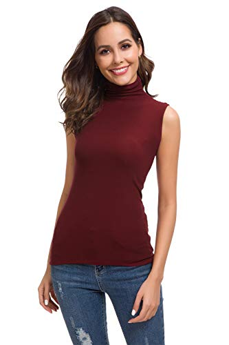 (Women Long/Short Sleeve Sleeveless High Turtleneck/Mock Neck/Crew Neck Slim Fit T Shirt Tank Tops)