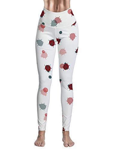 Set Outfit Ladybug Capri (RAINBOWTIME Women Tummy Control Workout Printed Yoga Pants - Ladies Super Soft Fitness Running Capris White Seven-Star Ladybug)