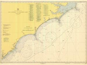 (Historical Nautical Chart 1110-04-1947: NC, Cape Hatteras to Charelston Light Year 1947)