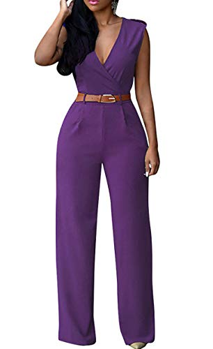 - Pink Queen Women's Purple Deep v Neck Loose Long Belted Jumpsuits Rompers L Purple Large
