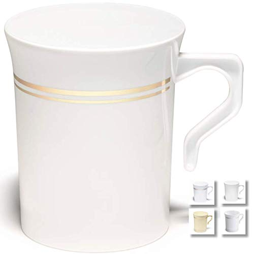 OCCASIONS 40 Mugs Pack, Heavyweight Disposable Wedding Party Plastic 8 oz Coffee Mugs Gold Trim/Tea Cups/Cappuccino Cups/Espresso Cup with Handles (8 oz Coffee, White & Gold Rim)