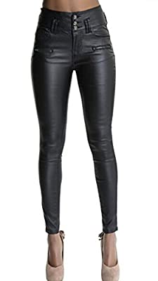 "Ecupper Womens Black Faux Leather Pants High Waisted Skinny Coated Leggings Petite/Regular/Tall,26""/29""/32"" Inseam"