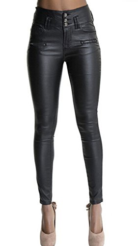 "Ecupper Womens Black Faux Leather Pants High Waisted Skinny Coated Leggings 29"" Inseam-Regular L-38"
