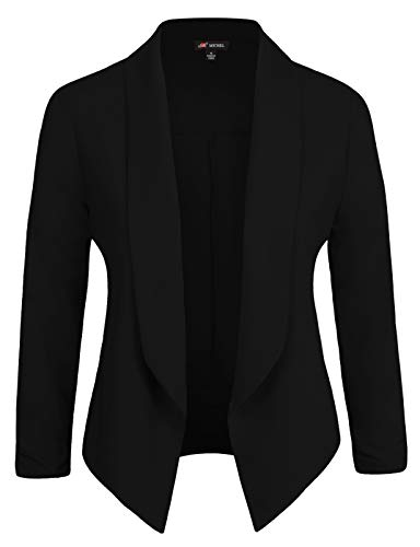 Michel Womens Casual Blazer Work Office Lightweight Stretchy Open Front Lapel Jacket Black Small